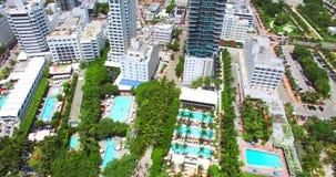 Zuidenstrand, het Strand van Miami florida Lucht Mening stock video