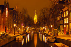 Zuiderkerk in Amsterdam Netherlands at night Royalty Free Stock Images