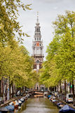 Zuiderkerk in Amsterdam. Zuiderkerk (Southern Church) in Amsterdam, Netherlands, view from the Groenburgwal canal in springtime Stock Photos