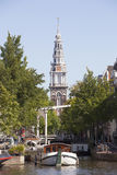 Zuiderkerk and boats in amsterdam Royalty Free Stock Images