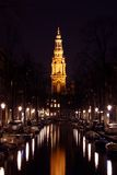Zuiderkerk by night in Amsterdam Netherlands Royalty Free Stock Photos