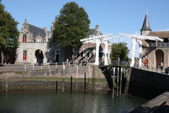 The Zuidhaven port is one of the three city gates of the Dutch city of Zierikzee. Royalty Free Stock Images