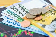 Zuidkoreaanse gewonnen munt en financiënzaken Royalty-vrije Stock Foto's