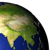 Zuidoost-Azië op model van Aarde met in reliëf gemaakt land Royalty-vrije Stock Afbeelding