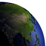 Zuidoost-Azië op model van Aarde met in reliëf gemaakt land Stock Afbeeldingen