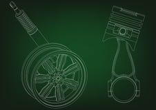 Zuiger en wiel met schokbreker op green Royalty-vrije Stock Fotografie