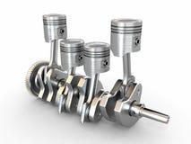 Zuigers en trapas. motor met vier cilinders. Stock Foto