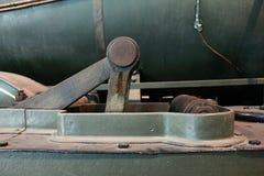 Zuigerwielen van een stoomlocomotief royalty-vrije stock afbeelding