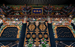 Zuihoden mausoleum. Sendai, Japan - March 16, 2015: Close up detail of the ornate carvings on the Zuihoden mausoleum built for Date Masamune Royalty Free Stock Photos