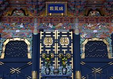 Zuihoden Mausoleum wall. Wall and door of the Zuihoden in Sendai, Miyagi Prefecture, Japan. This is the mausoleum of Date Masamune, founder of the Sendai Domain Royalty Free Stock Photo