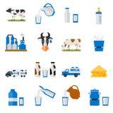Zuivel geplaatste pictogrammen - vlakke stijl Stock Fotografie