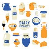 Zuivel geplaatste producten: melk, kaas, boter, zure room, roomijs, yoghurt, kwark Krabbelhand getrokken vectorillustratie stock illustratie