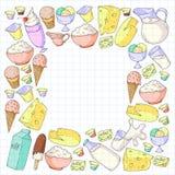 Zuivel producten Krabbelpictogrammen Dieet, ontbijtmelk, yoghurt, kaas, roomijs, boter Eet vers gezond voedsel en ben royalty-vrije illustratie