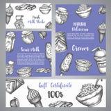 Zuivel zoet Giftcertificaat met schetshand getrokken ontwerp voor menu, banner, kaart, zuivelwinkel Vectorillustratie royalty-vrije illustratie