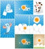 Zuivelfabriek en Eierenvectoren Stock Foto's