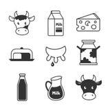 Zuivelfabriek en melk geplaatste pictogrammen stock illustratie