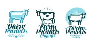 Zuivelproducten, etiketreeks Koe, landbouwbedrijfdier, melk, rundvleespictogram of embleem Van letters voorziende Vectorillustrat stock illustratie