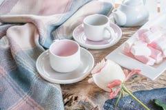 Zuiver koffie of theestel Een lichtgrijs paar elegant porselein en pastelkleur roze koppen op een comfortabele achtergrond stock afbeeldingen