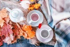 Zuiver koffie of theestel Een lichtgrijs paar elegant porselein en pastelkleur roze koppen op een comfortabele de herfstachtergro stock afbeelding