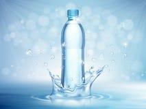Zuiver mineraalwater, plastic fles in de midden en vliegende elementen van de waterdaling op blauwe achtergrond vector illustratie