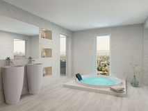 Zuiver schoon wit badkamersbinnenland met badkuip Stock Foto