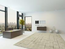 Zuiver schoon wit badkamersbinnenland met badkuip Stock Afbeeldingen
