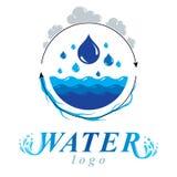 Zuiver water vector abstract embleem voor gebruik als marketing ontwerp symb Stock Afbeeldingen