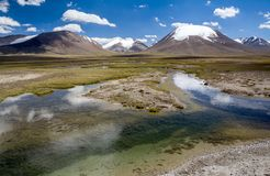 Zuivere rivier in Arabel-vallei. Tien Shan, Kirghizia stock foto's