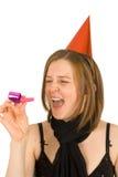 Zuivere vreugde en happines op haar gezicht Stock Foto