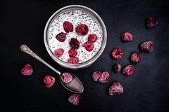 Zuivere Yoghurt met de zaden en de Frambozen van Chia Stock Fotografie