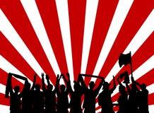 Zujubelnde Fans mit rotem und weißem Hintergrund Lizenzfreie Stockfotografie