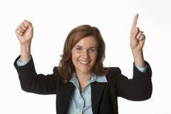 Zujubelnde Zahl eine der Geschäftsfrau Stockfotografie