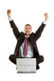 Zujubelnder Geschäftsmann Lizenzfreies Stockfoto