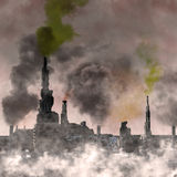 Zukünftige industrielle Stadt Stockbild
