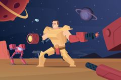 Zukünftige Kampfroboter Futuristische Soldaten des Cyberkrieges beschädigt an Vektorcharakter-Karikaturhintergrund lizenzfreie abbildung