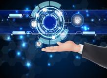 Zukünftige Netztechnologie und -ikonen des Geschäftsmannes auf der Hand Stockfotografie