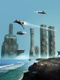 Zukünftige Stadt Stockbild