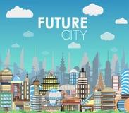 Zukünftige Stadtlandschaftskarikatur-Vektorillustration Modernes Gebäudeset Stockfotos
