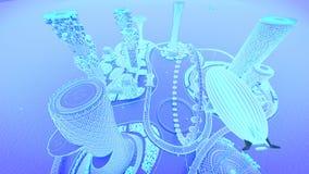 Zukünftige Stadtskyline des Konzeptes Futuristisches Geschäftsvisionskonzept Abbildung 3D Stockfotos