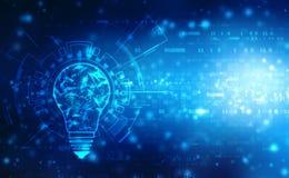 Zukünftige Technologie der Birne, Innovationshintergrund, kreatives Ideenkonzept lizenzfreie abbildung