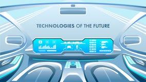 Zukünftige Technologie-Fahne Auch im corel abgehobenen Betrag stock abbildung