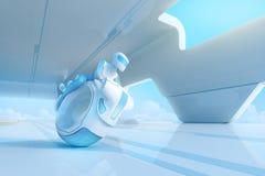 Zukünftiger motobike Reiter in HalloTechnologie Innenraum. stock abbildung