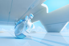 Zukünftiger motobike Reiter in HalloTechnologie Innenraum. Lizenzfreies Stockbild