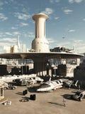 Zukünftiger Stadt Spaceport Lizenzfreies Stockbild