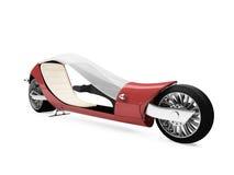 Zukünftiges rotes Fahrrad getrennte Ansicht Stockfotos