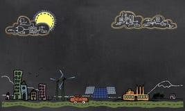 Zukünftiges Technologie-und der erneuerbaren Energie Konzept auf Tafel lizenzfreie abbildung