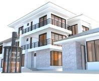 Zukünftiges Wohnhaus mit enormer äußerer Batterieenergiequelle I Stockfotografie