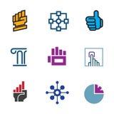 Zukünftiger Fortschrittserfolgstechnologiegrundlagenfaustsymbollogo-Ikonensatz Stockfotos