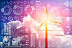 Zukunft der Energie und der Technologie, Windkraftanlage mit Geschäftsinformationen stock abbildung
