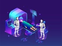 Zukunft der medizinischen Biotechnologie, Überprüfung des ganzen Körpers durch robo lizenzfreie abbildung